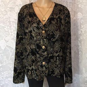 6bad31d3382 ... Fashion Bug Black Velvet w Gold   Silver Jacket ...